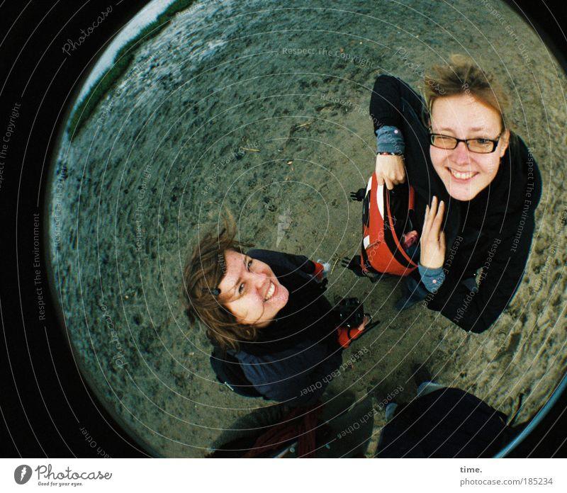 Woman Hand Water Sky Ocean Beach Cold Autumn Feminine Laughter Head Friendship Coast Weather Crazy Trip