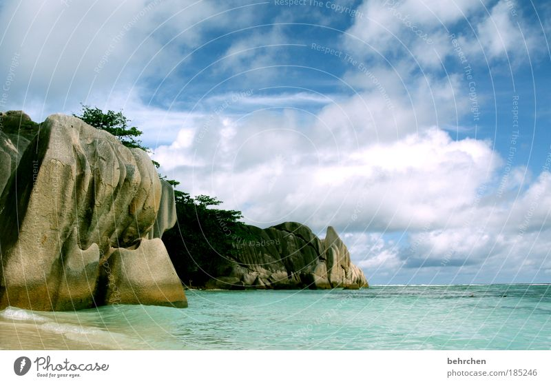 Sky Beautiful Beach Vacation & Travel Ocean Clouds Far-off places Freedom Happy Waves Contentment Rock Island Tourism Africa Turquoise