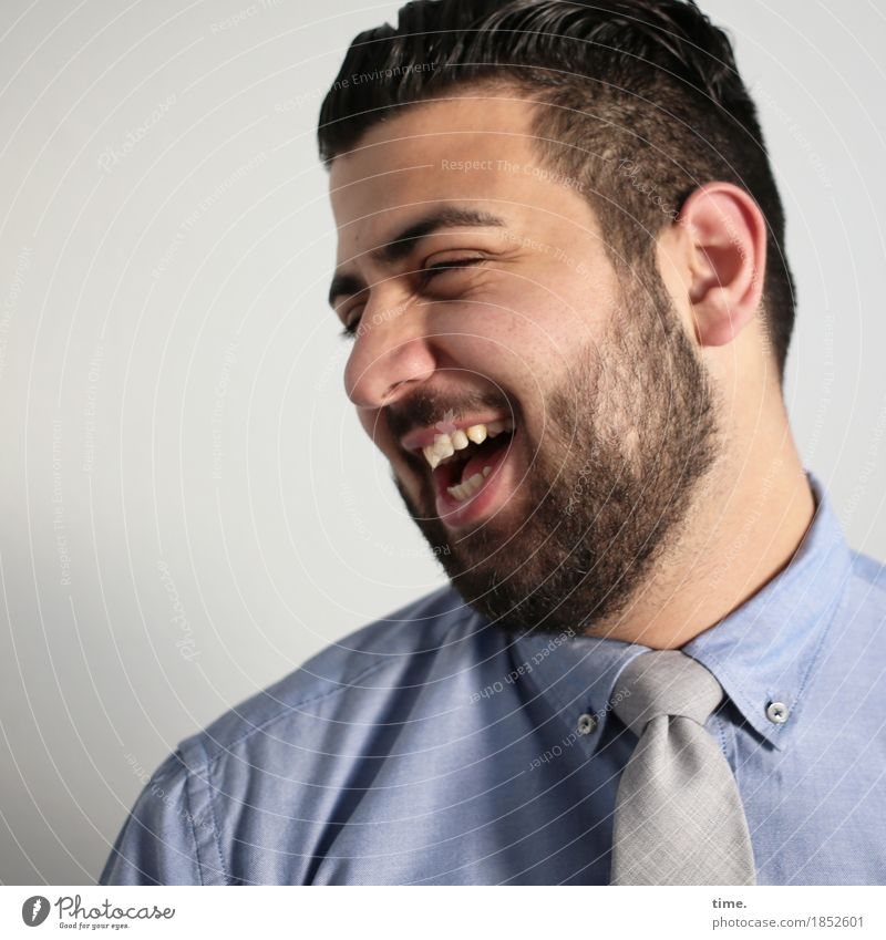 ali Masculine Workwear Shirt Tie Black-haired Short-haired Beard Laughter Friendliness Happiness Funny Beautiful Joy Happy Contentment Joie de vivre (Vitality)