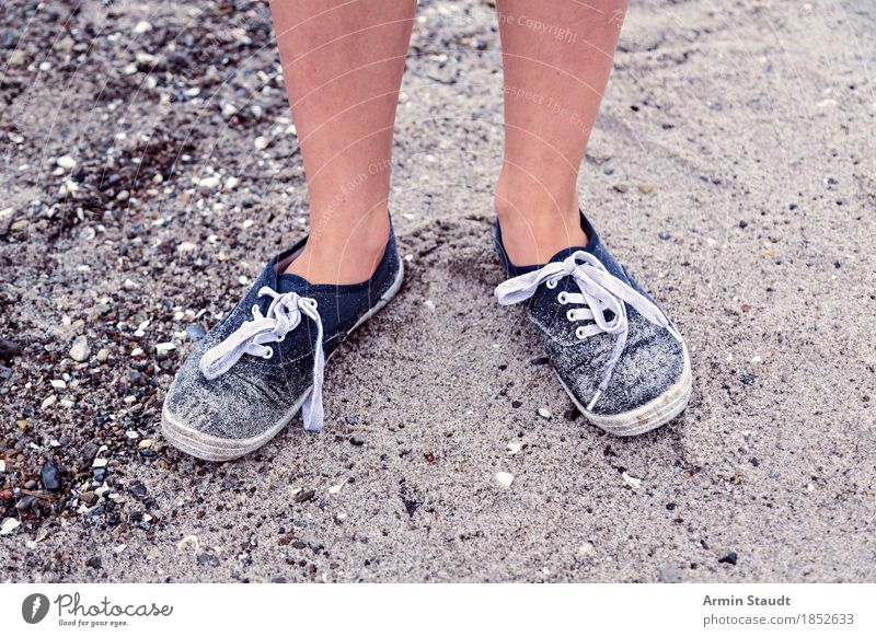 On the beach Lifestyle Style Healthy Vacation & Travel Tourism Trip Expedition Summer vacation Beach Human being Legs Feet 1 Nature Sand Coast Fashion Cloth
