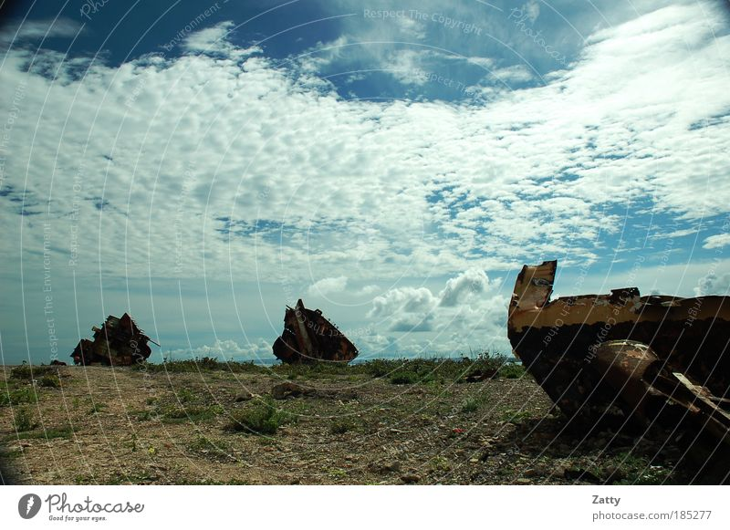 ship graveyard Clouds Rock Coast Navigation Wreck Stone Metal Rust Dirty Creepy Broken Chaos Destruction Colour photo Exterior shot Deserted Copy Space top Day
