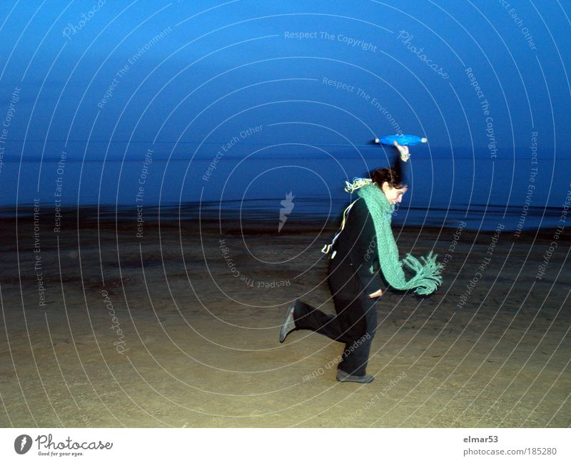 kite Woman Human being Sky Youth (Young adults) Water Blue Green Joy Beach Adults Life Movement Energy Running Happiness