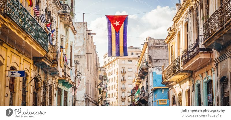 Street in Havana with Cuban Flag Life Vacation & Travel Tourism House (Residential Structure) Sky Town Populated Building Architecture Facade Tourist Attraction