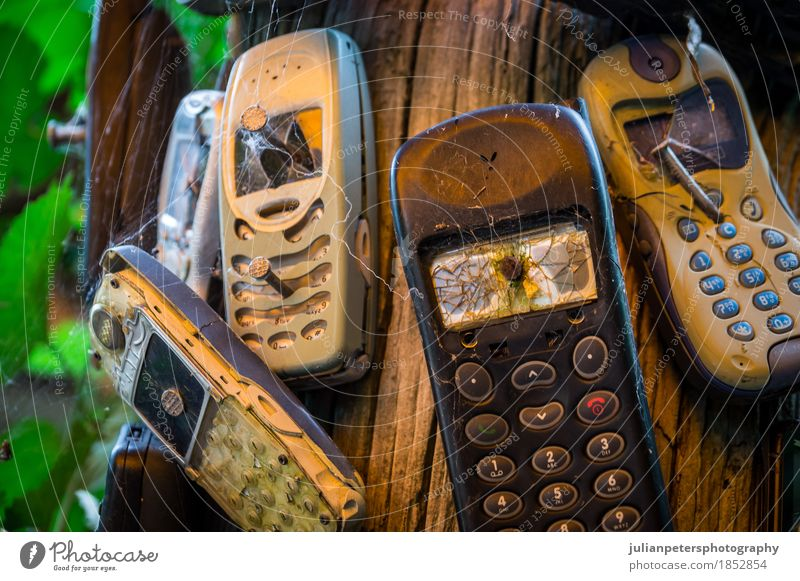 Old broken mobile phones nailed to a trunk To talk Telephone Cellphone Screen Technology Telecommunications Information Technology Paper