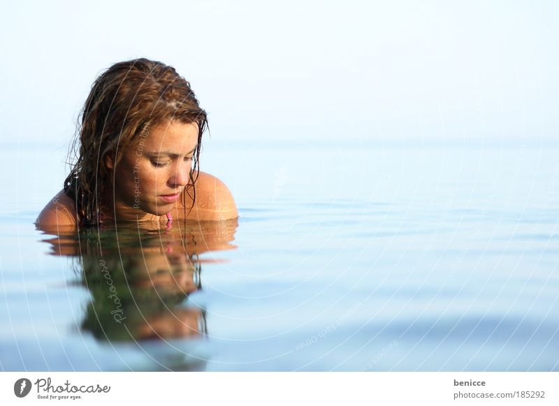 water feature Woman Human being Water Ocean Lake Reflection Water reflection Summer Relaxation Contentment Swimming & Bathing Bathroom Smoothness Beautiful