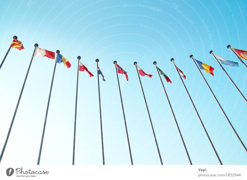 Row of european flags Group Sky Cloudless sky Sunlight Wind Stripe Flag Flying Together Large Blue Multicoloured Yellow Green Red White Colour Europe European