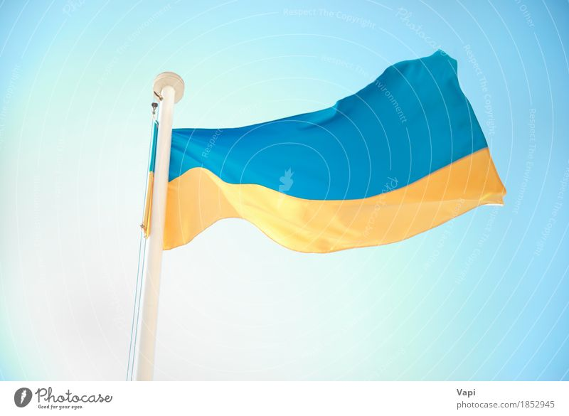 Ukrainian blue and yellow flag Design Vacation & Travel Tourism Culture Sky Cloudless sky Wind Flag Blue Yellow White Colour Ukraine euro 2012 country football