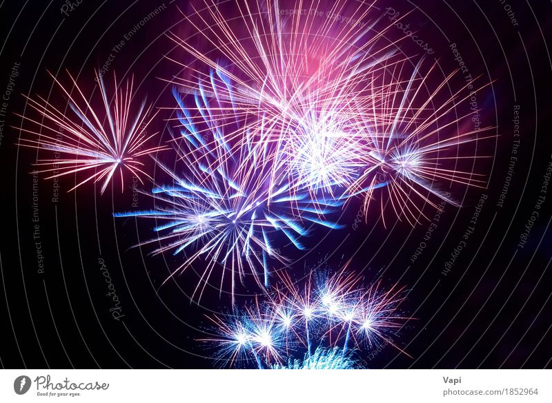 Colorful fireworks on the black sky Sky Blue Christmas & Advent Colour White Red Joy Dark Black Yellow Art Freedom Feasts & Celebrations Party Orange Design