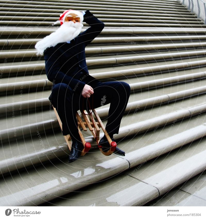 Human being Man Christmas & Advent Adults Funny Masculine Stairs Crazy Speed Risk Mask Santa Claus Whimsical Smoothness Beard Day