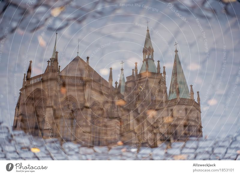 Pompom puddle II Erfurt Town Downtown Old town Church Dome Manmade structures Building Architecture Tourist Attraction Landmark Belief Religion and faith Puddle