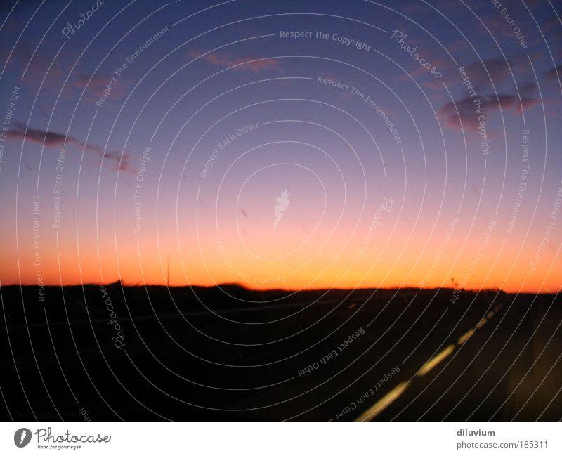 autopilot Far-off places Freedom Landscape Sky Night sky Horizon Sunrise Sunset Motoring Street Driving Speed Colour photo Exterior shot Evening Twilight