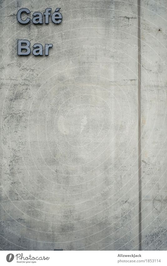 Concrete Café / Bar Wall (barrier) Wall (building) Characters Gray Town Lettering Signs and labeling Colour photo Exterior shot Deserted Day