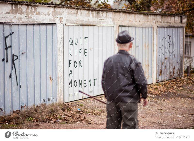 Human being Man Old Relaxation Adults Life Graffiti Senior citizen Masculine Characters 60 years and older Male senior Hat Grandfather Exhaustion Garage