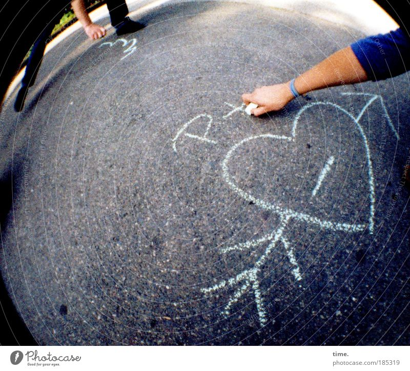 Human being Man Hand Vacation & Travel Joy Adults Art Infancy Heart Concrete Action Ground Floor covering Image Illustration Asphalt
