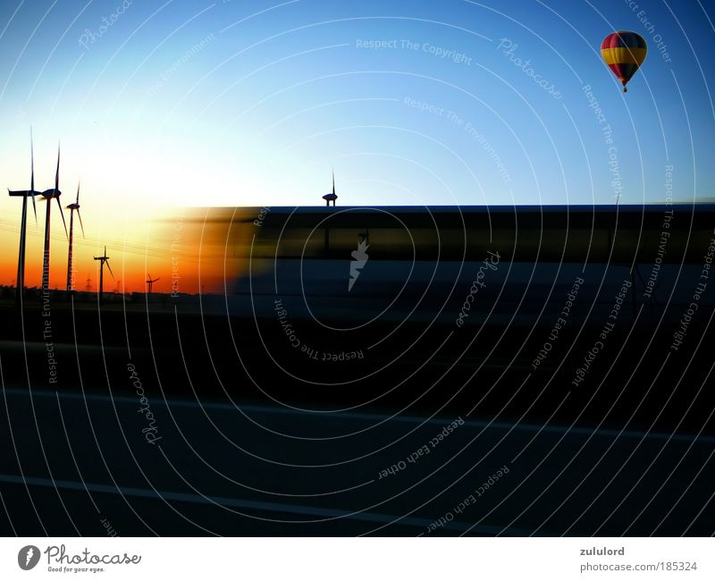 Movement Net Power Flying Energy Speed Energy industry Electricity Future Driving Logistics Natural Wind energy plant Highway Solar Power Hot Air Balloon