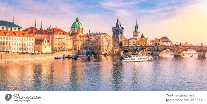 Prague panorama with its river and buildings Vacation & Travel Blue City Architecture Yellow Building Tourism Watercraft Trip Gold Europe Culture Bridge River