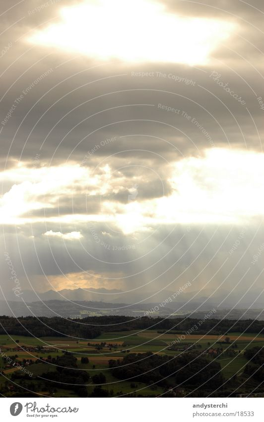 sunrays Switzerland Clouds Meadow Dark Thunder and lightning Sun Lighting Landscape Rain