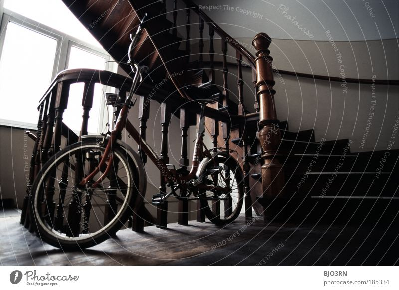 Old Joy House (Residential Structure) Window Wood Small Interior design Flat (apartment) Contentment Bicycle Leisure and hobbies Stairs Living or residing Wheel