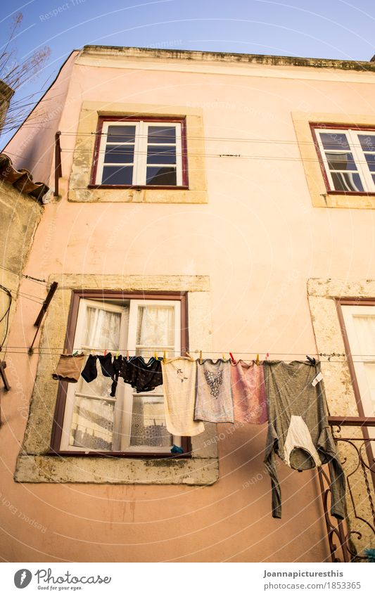 dry Living or residing Flat (apartment) Small Town Facade Window Clothing Hang Cleaning Authentic Simple Wet Dry Life Laundry Clothesline Colour photo