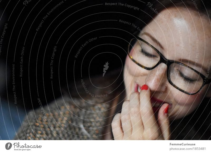 Luck_1853481 Feminine Young woman Youth (Young adults) Woman Adults Head Face Hand Human being 18 - 30 years Success Happy Contentment Joy Eyeglasses Brown