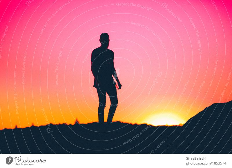 silhouette of an human Elegant Style Exotic Vacation & Travel Summer vacation Human being Young man Youth (Young adults) Man Adults Life Body 18 - 30 years Sun