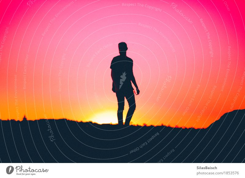 Silhouette Lifestyle Elegant Style Vacation & Travel Adventure Far-off places Summer vacation Beach Ocean Human being Young man Youth (Young adults)