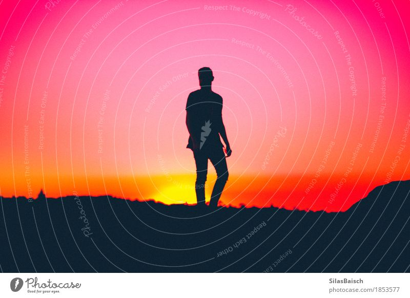 When the sun sets Elegant Style Human being Young man Youth (Young adults) Life Body 18 - 30 years Adults Nature Cloudless sky Sunrise Sunset Fashion Emotions