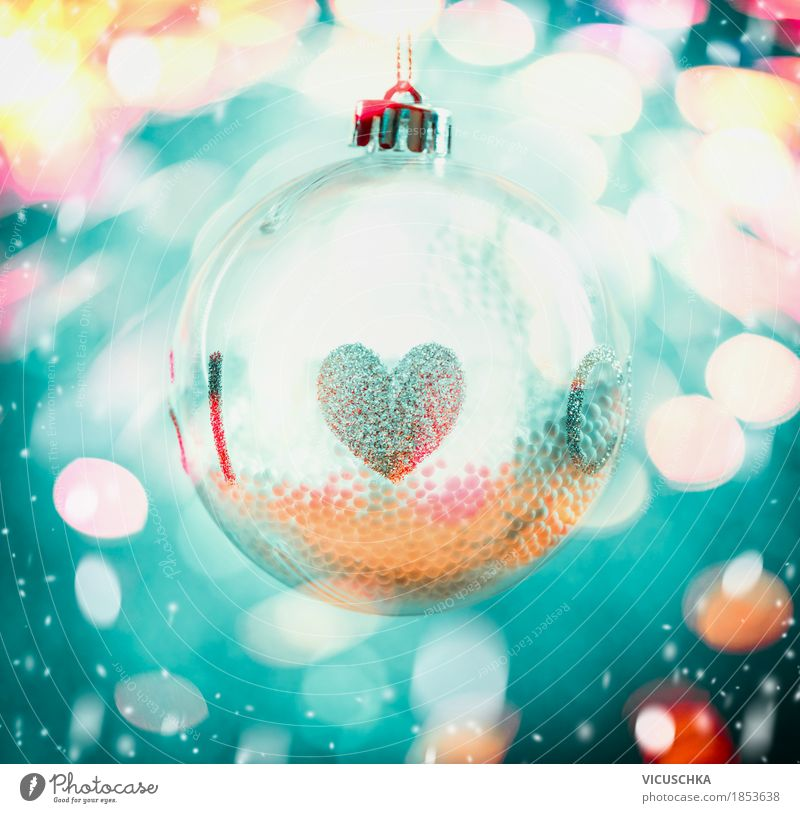Blue Christmas & Advent Joy Winter Yellow Snow Style Lamp Feasts & Celebrations Moody Design Decoration Glass Heart Symbols and metaphors Sphere