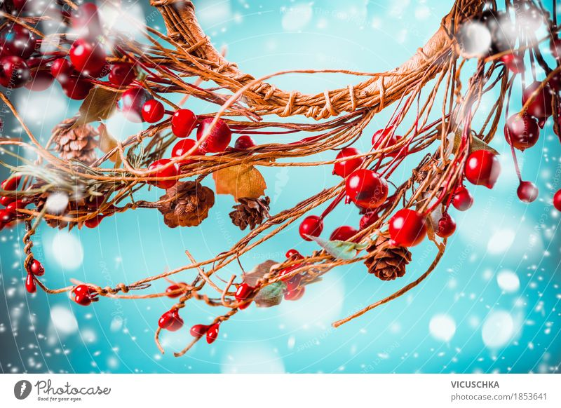 Nature Blue Christmas & Advent Red Joy Winter Style Snow Feasts & Celebrations Moody Design Snowfall Decoration Happiness Symbols and metaphors Tradition