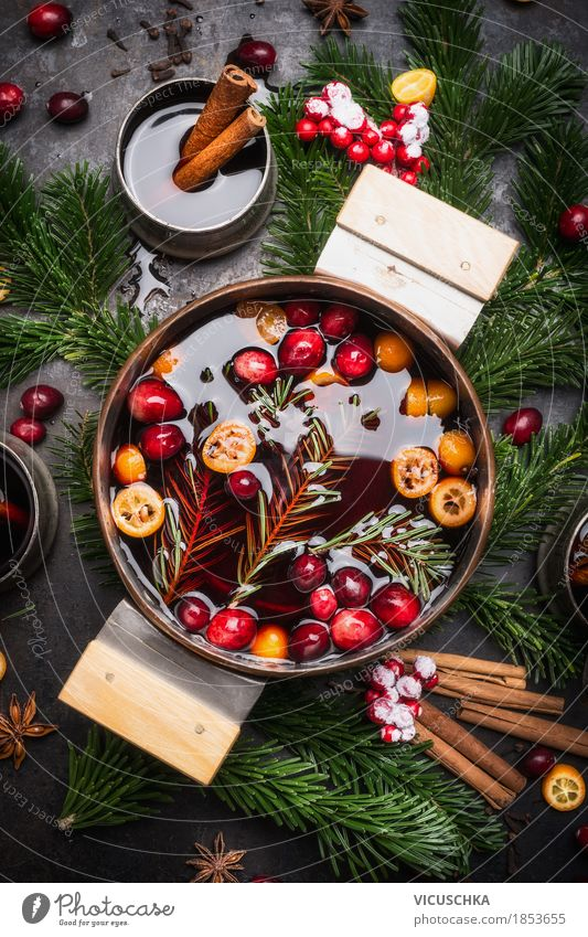 Mulled wine in a saucepan Banquet Beverage Hot drink Alcoholic drinks Crockery Pot Cup Style Design Joy Table Kitchen Feasts & Celebrations Christmas & Advent