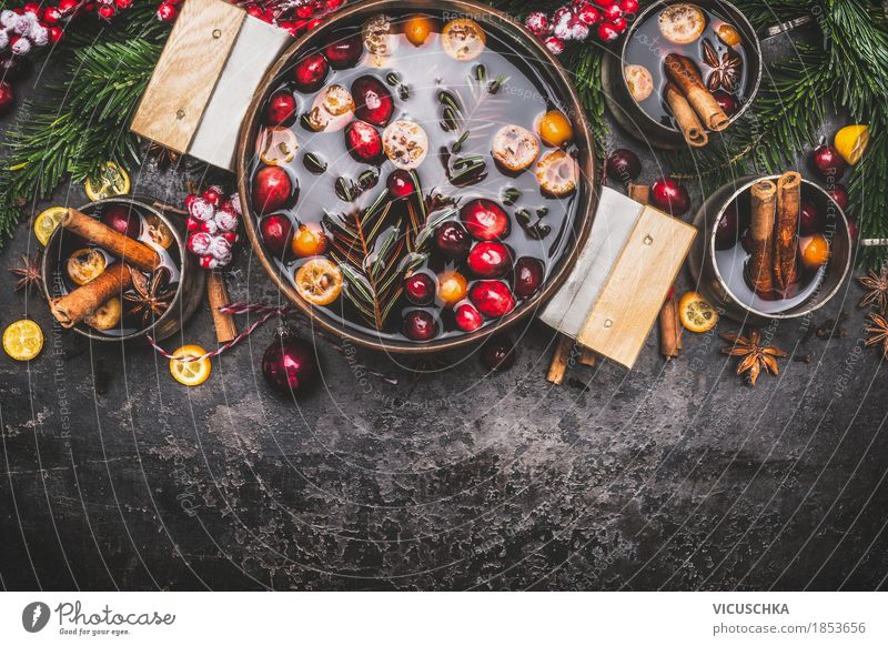Mulled wine in a saucepan with cups and ingredients Banquet Beverage Hot drink Pot Cup Style Design Joy Winter Table Kitchen Party Event Feasts & Celebrations
