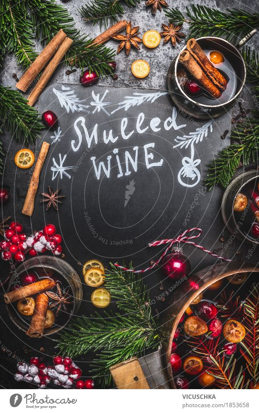Traditional mulled wine with saucepan, cups and fir branches Fruit Banquet Beverage Hot drink Wine Mulled wine Style Design Joy Living or residing Table Kitchen