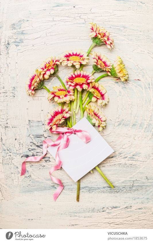 Pretty bouquet with greeting card and pink ribbon Elegant Style Design Decoration Feasts & Celebrations Valentine's Day Mother's Day Birthday Nature Plant