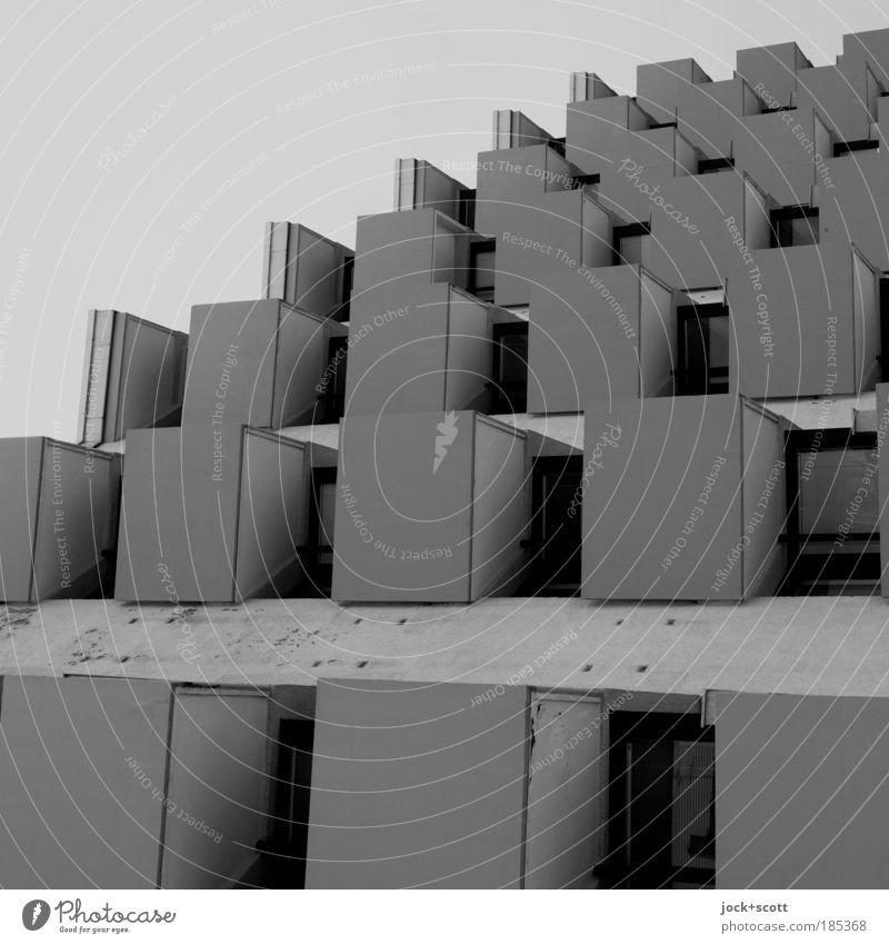New Order (form follows function) Architecture Facade Balcony Concrete Sharp-edged Firm Modern Gloomy Equal Arrangement Perspective Style Symmetry Irritation