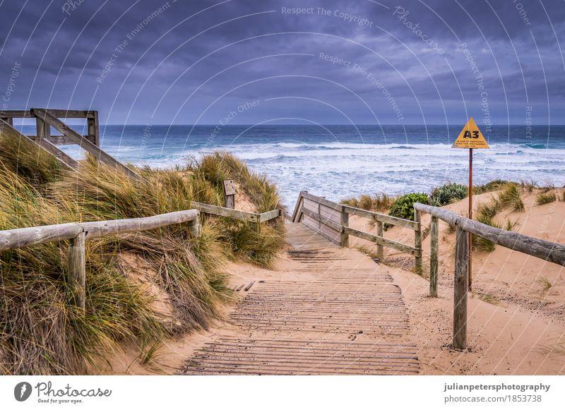 Cape Woolamai beach at Phillip Island Lifestyle Joy Vacation & Travel Sunbathing Beach Ocean Waves Nature Landscape Sand Sky Grass Virgin forest Dark Strong