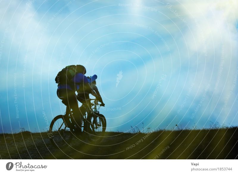 Silhouette of couple on bicycles Lifestyle Leisure and hobbies Vacation & Travel Trip Adventure Cycling tour Summer Summer vacation Sun Wallpaper Sports