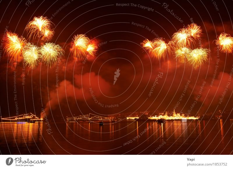 Red colorful holiday fireworks Joy Freedom Night life Feasts & Celebrations Christmas & Advent New Year's Eve Art Event Shows Party Water Sky Night sky Lake