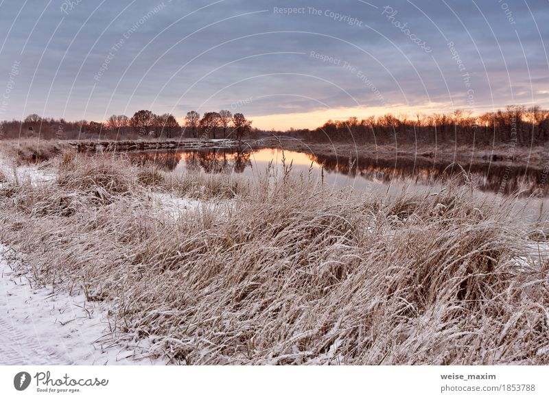 Cloudy autumn dawn. First snow in the autumn river Vacation & Travel Tourism Expedition Winter Snow Environment Nature Landscape Plant Sky Clouds Sunrise Sunset