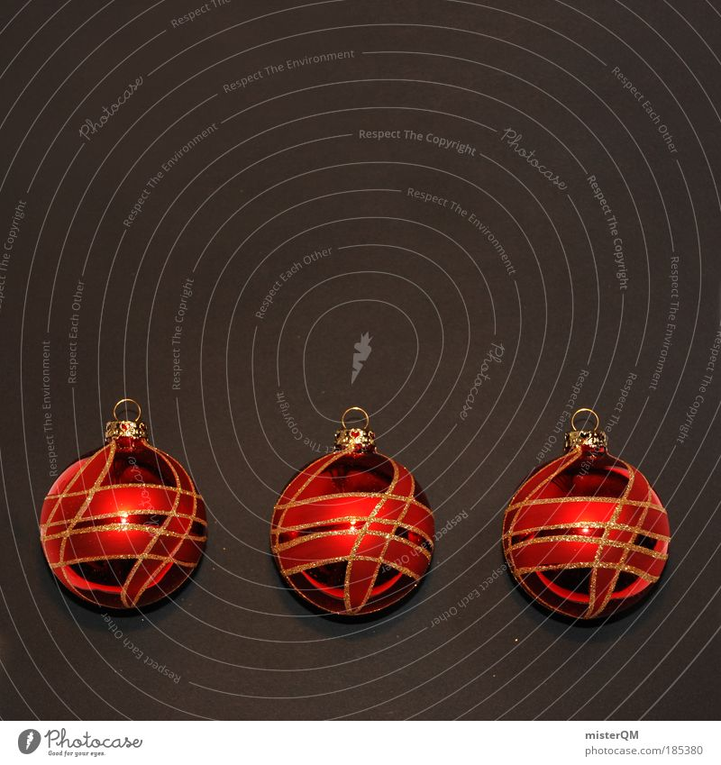 Christmas & Advent Red Black Art Glittering Decoration Modern Esthetic Gold Culture 3 Kitsch Sphere Anticipation Holy False