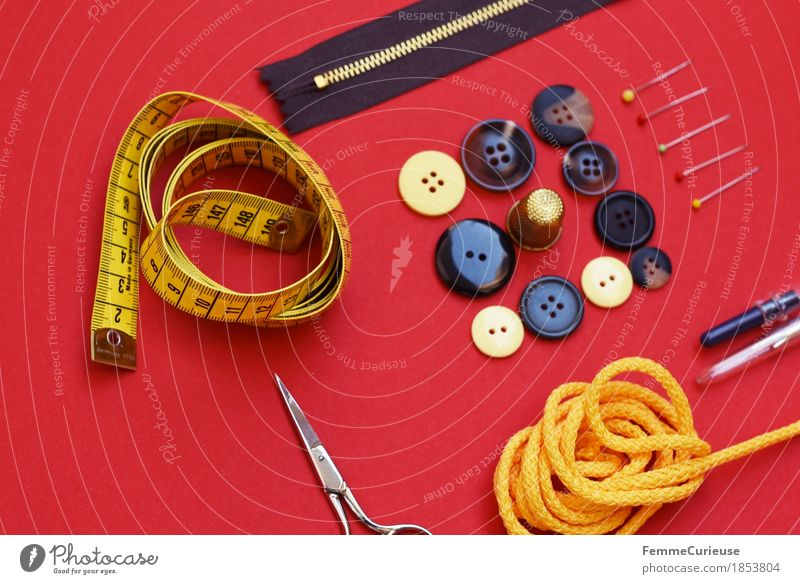 Sewing_1853804 Fashion Creativity accessories Tape measure Buttons String Scissors Zipper Pin Thimble Dry goods Make Red Still Life Arranged Clothing Design