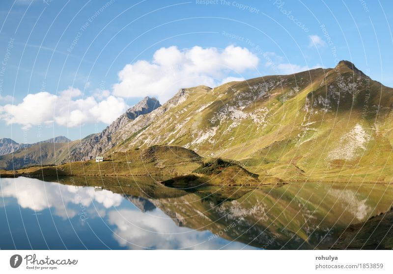 mountains reflected in alpine lake Sky Nature Blue Landscape Clouds Mountain Lake Germany Rock Vantage point Peak Hill Alps Bavaria Symmetry Cliff