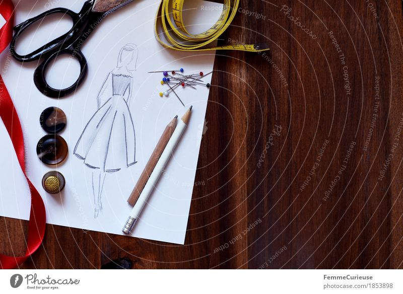 Fashion Design Leisure and hobbies Creativity Paper Planning String Dress Still Life Make Skirt Wooden table Conceptual design Buttons Pencil Sewing