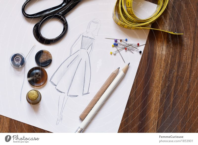 Fashion design_1853901 Creativity Tailoring Sewing Make Tape measure Measure Pin Ladies' fashion Clothing Designer Dress Skirt Buttons Scissors Thimble