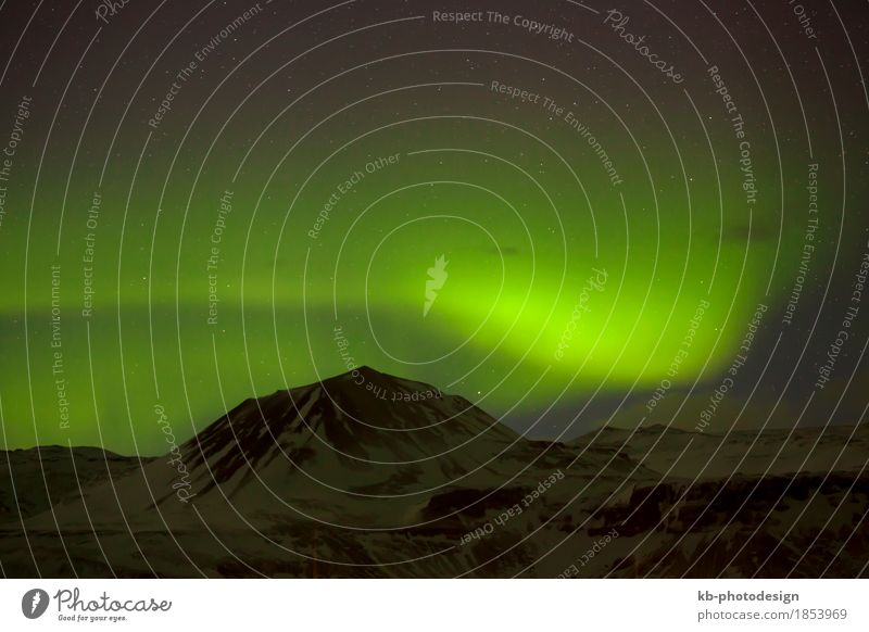Green Northern lights with snowy mountains in Iceland Vacation & Travel Tourism Adventure Far-off places Mountain Aurora Borealis northern lights Starling