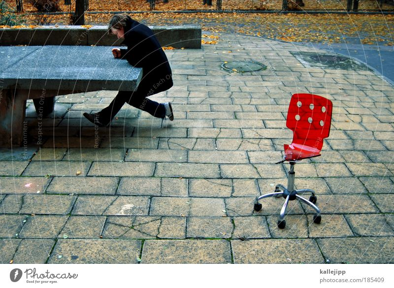 Human being Man Red Leaf Adults Autumn Sit Masculine Academic studies Table Lifestyle Broken School building Chair Education University & College student