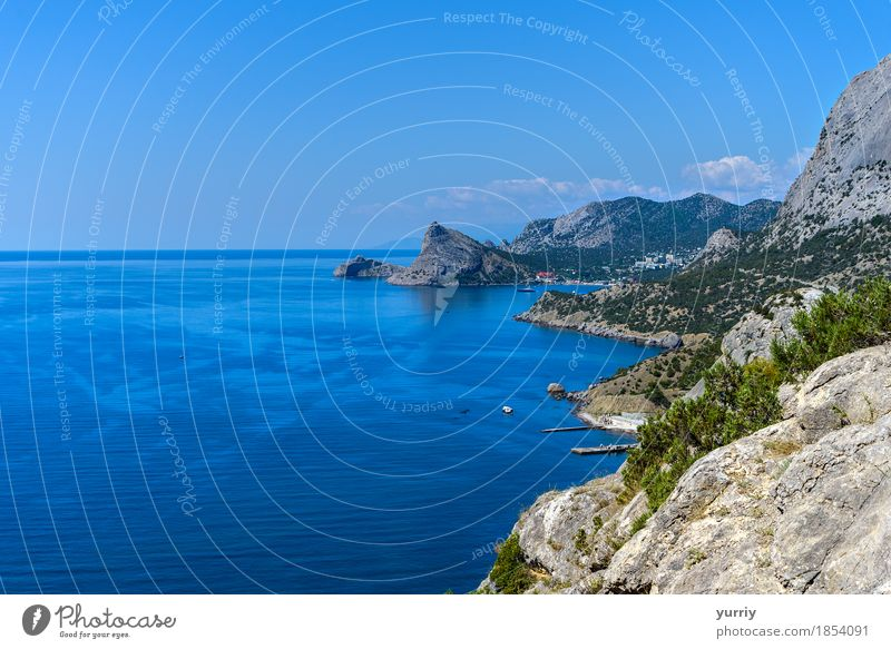 The mountainous coast Sky Nature Vacation & Travel Blue Summer Green Beautiful Water Ocean Landscape Beach Mountain Black Coast Stone Rock