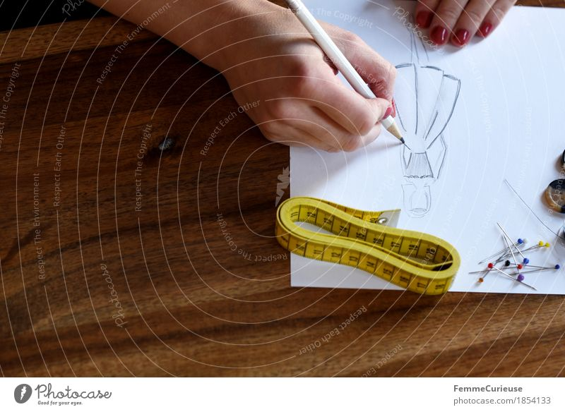 Hand Feminine Fashion Creativity Paper Dress Hip & trendy Draw Wooden table Conceptual design Pencil Holiday season Atelier Pin Designer Nail polish