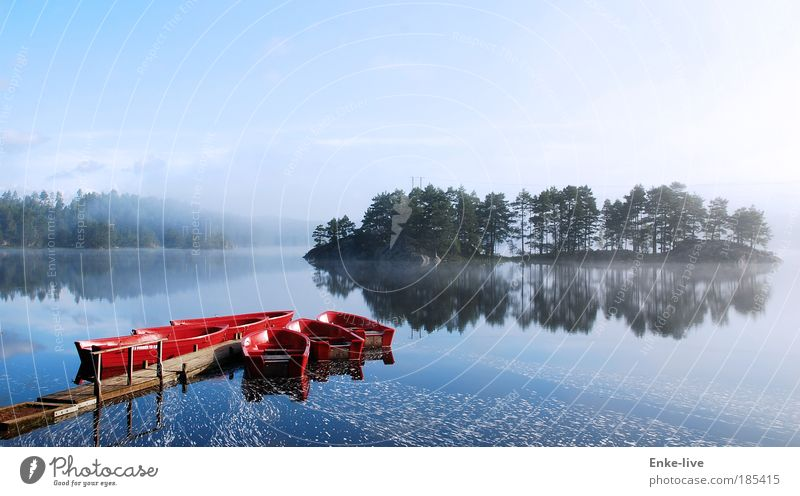 red boat lake fog Harmonious Senses Leisure and hobbies Fishing (Angle) Expedition Island Nature Landscape Water Fog Lakeside Exceptional Fantastic Gigantic