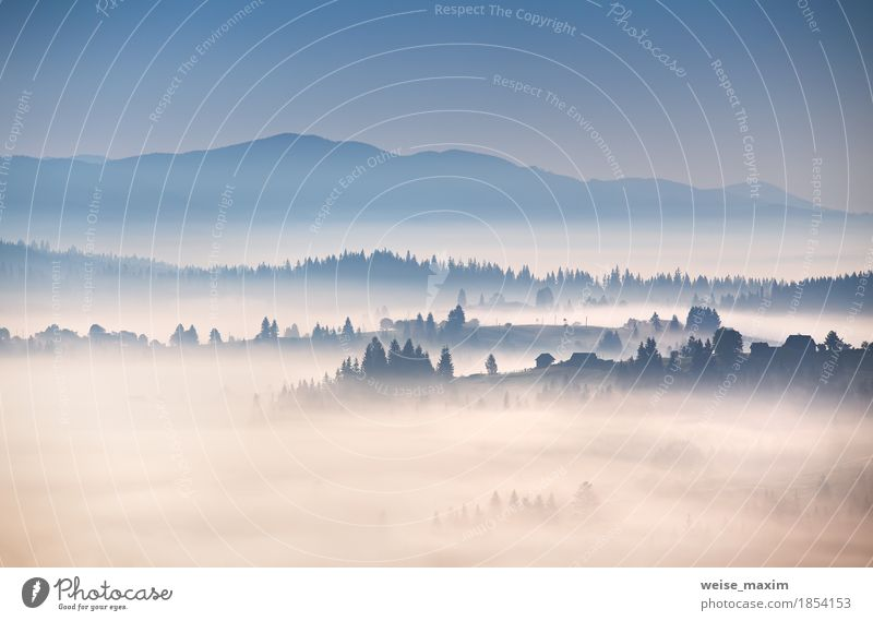 Autumn foggy morning in Carpathian mountains Sky Nature Vacation & Travel Blue White Tree Landscape Clouds House (Residential Structure) Forest Mountain Weather