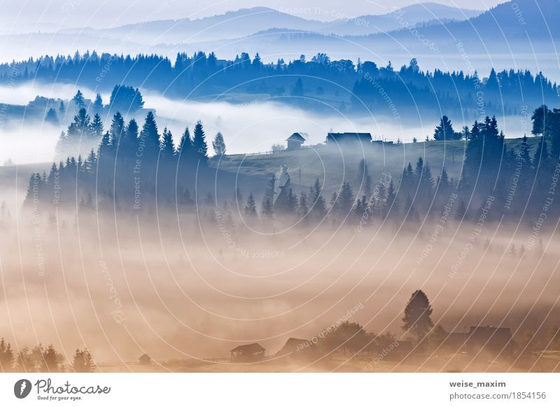 Autumn foggy sunrise in Carpathian mountains. Alpine village Sky Nature Vacation & Travel Blue White Landscape Clouds House (Residential Structure) Far-off places Forest Mountain Environment Autumn Freedom Tourism Weather
